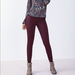 Maurices Deep Wine Skinny Super Soft Jeggings